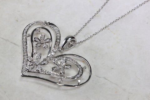 DIAMOND FLOWER HEART PENDANT 14k GOLD  WITH 14K GOLD CHAIN