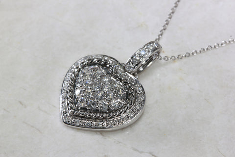 ESTATE 14K GOLD DIAMOND HEART PENDANT .95 CT & 14K GOLD CHAIN 14CT WHITE