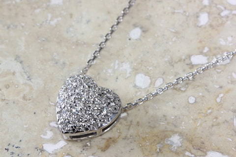 SOLID WHITE GOLD DIAMOND HEART PENDANT PAVE SET 14k WITH 14K WHITE GOLD CHAIN