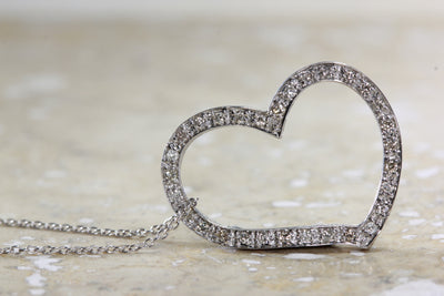 DOUBLE SIDED 14k GOLD DIAMOND HEART PENDANT WITH 14K WHITE GOLD CHAIN