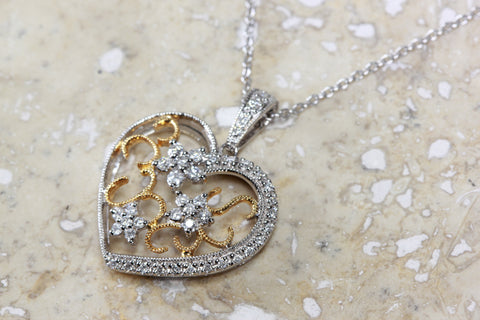 ANTIQUE TWO TONE DIAMOND HEART PENDANT 14k FILIGREE WITH 14K WHITE GOLD CHAIN NECKLACE