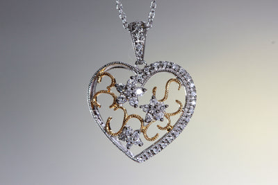 TWO TONE DIAMOND HEART PENDANT 14k FILIGREE WITH 14K WHITE GOLD CHAIN NECKLACE