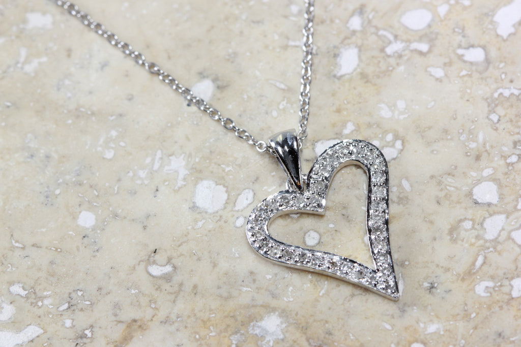 WHITE GOLD DIAMOND HEART PENDANT PAVE SET 14k WITH 14K WHITE GOLD CHAIN