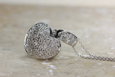 DIAMOND PUFF HEART PENDANT 14k GOLD  WITH 14K GOLD CHAIN