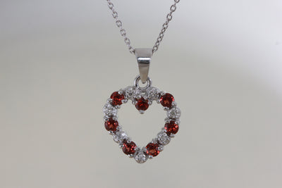 14k GOLD DIAMONDS & GARNET OPEN HEART PENDANT AND CHAIN