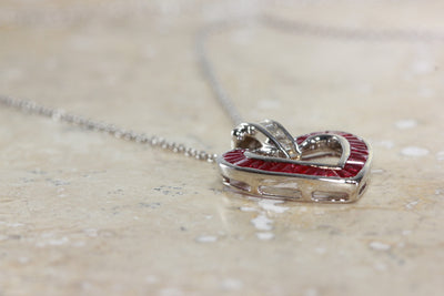 14K GOLD BAGUETTES DIAMONDS & RUBY OPEN HEART PENDANT AND CHAIN