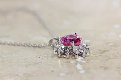 WHITE GOLD DIAMONDS & PINK TOPAZ HEART 14k PENDANT AND CHAIN