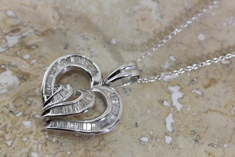 WHITE GOLD DIAMOND HEART PENDANT BAGUETTE CUT 14k WITH 14K WHITE GOLD CHAIN NECKLACE
