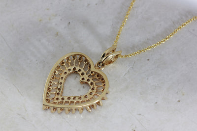 YELLOW GOLD DIAMOND HEART BURST PENDANT 14k WITH 14K YELLOW GOLD CHAIN