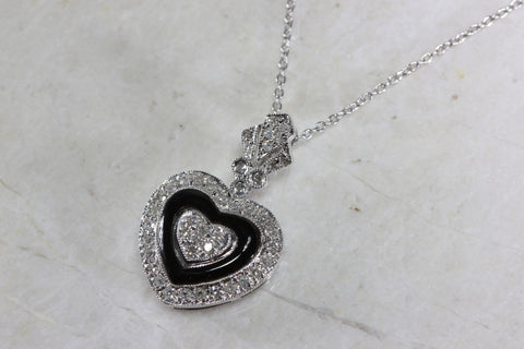 ANTIQUE ONYX & WHITE GOLD DIAMOND HEART PENDANT PAVE SET 14k WITH 14K WHITE GOLD CHAIN NECKLACE