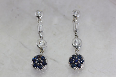 ANTIQUE BLUE SAPPHIRE DIAMOND DANGLE EARRINGS IN 14k WHITE GOLD SETTING