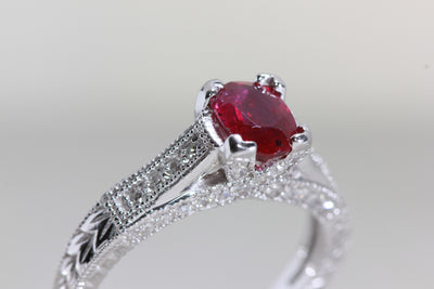 ANTIQUE 14K WHITE GOLD NATURAL RUBY & DIAMOND FILIGREE ENGAGEMENT RING