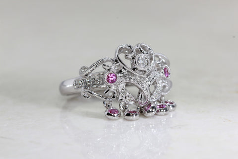 14k WHITE GOLD PINK SAPPHIRE & DIAMOND DANGLING RING