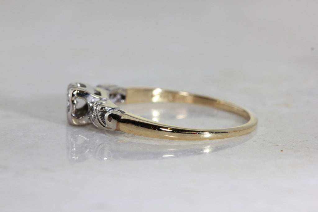 ANTIQUE 1940's VINTAGE ENGAGEMENT RING 14k WHITE & YELLOW ...
