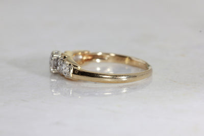 ANTIQUE 1940's ENGAGEMENT RING 14k WHITE & YELLOW GOLD DIAMOND RING ILLUSION SETTING