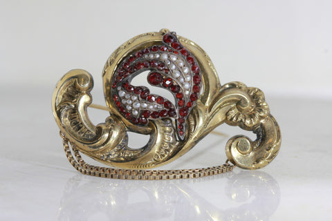 ANTIQUE VICTORIAN 12K YELLOW GOLD LADIES RUBY AND PEARL PIN BROOCH