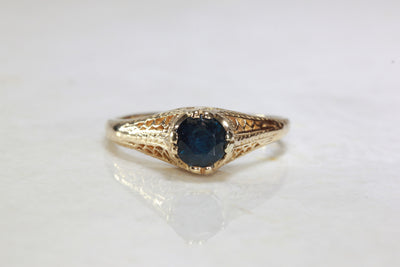ART DECO 14k YELLOW GOLD SAPPHIRE RING ANTIQUE