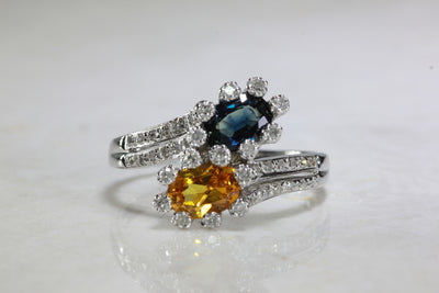 MODERN 14k WHITE GOLD LADIES SAPPHIRE & CITRINE DIAMOND RING