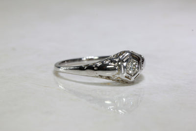 ANTIQUE 14k WHITE GOLD ART DECO FILIGREE ENGAGEMENT RING EUROPEAN CUT DIAMOND  DOME
