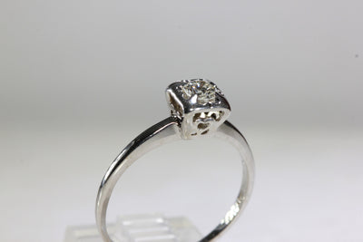 ANTIQUE 14k WHITE GOLD ENGAGEMENT RING DIAMOND ILLUSION SETTING