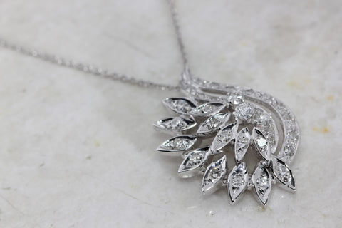 ANTIQUE DIAMOND PENDANT NECKLACE 14K WHITE GOLD & CHAIN