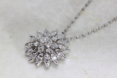 ANTIQUE SUN BURST DIAMOND PENDANT NECKLACE 14K WHITE GOLD & DIAMOND CUT CHAIN