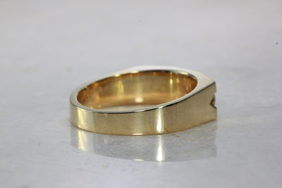 14k YELLOW GOLD MENS CHANNEL SET DIAMOND BAND RING