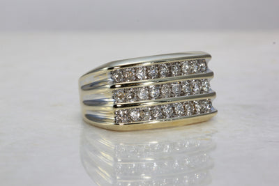 14k YELLOW GOLD MENS THREE ROW DIAMONDS RING BAND