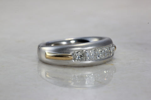 14k TWO TONE GOLD MENS DIAMOND WEDDING BAND CHANNEL SET PRINCESS CUT STONES