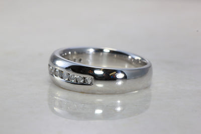 14k WHITE GOLD MENS BAND SOLID CHANNEL SET DIAMOND RING 7MM