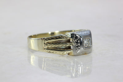 ANTIQUE MENS DIAMOND ENGAGEMENT RING 14k TWO TONE GOLD