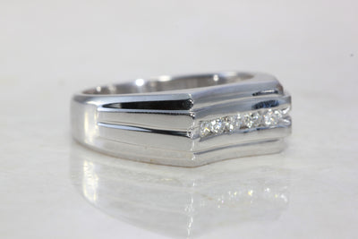14k WHITE GOLD MENS SOLID CHANNEL SET DIAMOND RING BAND