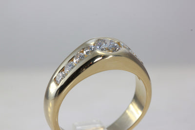MENS DIAMOND ENGAGEMENT RING 14k YELLOW GOLD BAND