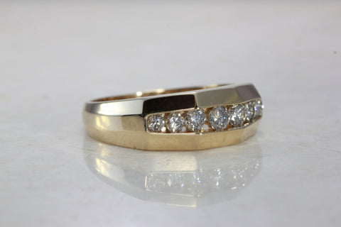 CHANNEL SET 14k YELLOW GOLD MENS DIAMOND RING BAND