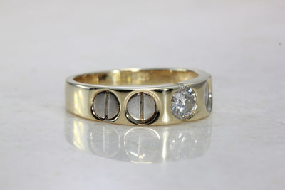 14k TWO TONE GOLD MENS DIAMOND WEDDING BAND 0.50 Ct CENTER STONE