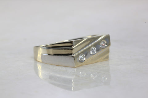 14k TWO TONE GOLD MENS THREE STONE DIAMOND RING