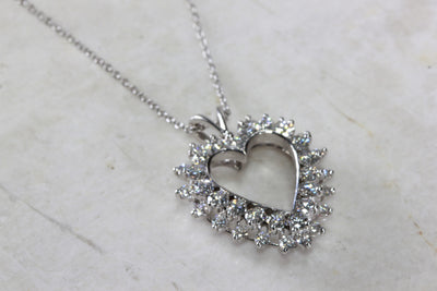 DOUBLE ROW DIAMOND HEART PENDANT NECKLACE 14K WHITE GOLD & CHAIN
