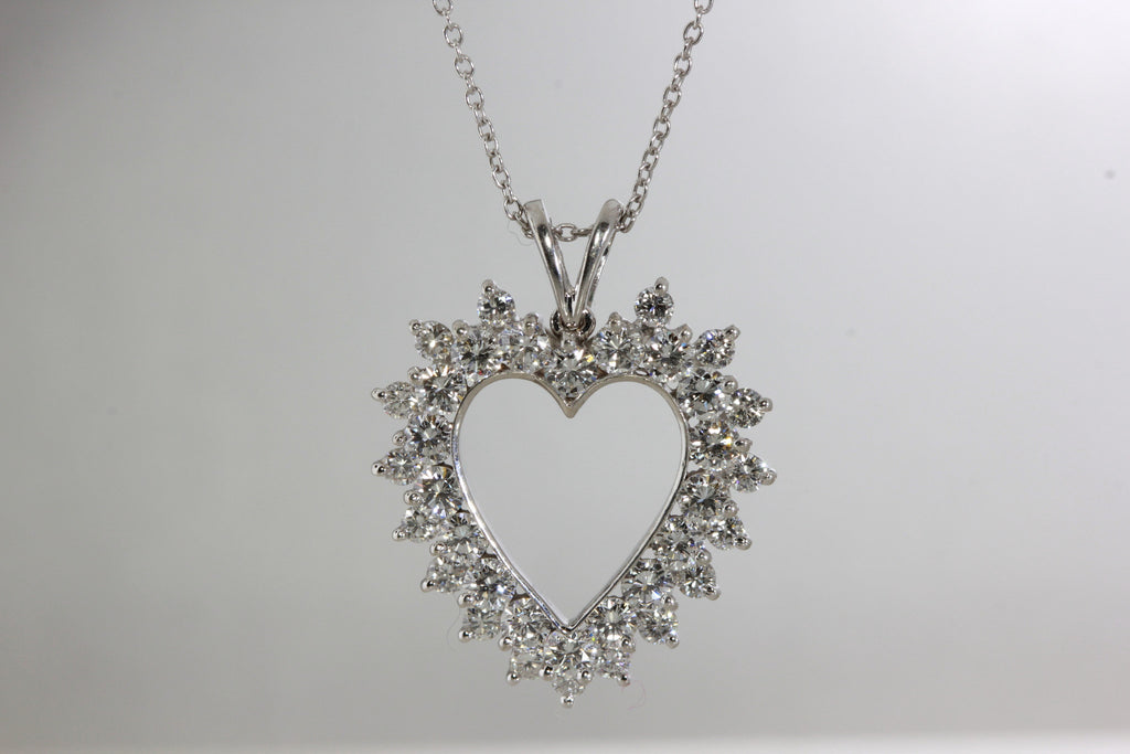 Double row diamond heart pendant necklace 14k white gold chain double row diamond heart pendant necklace 14k white gold chain aloadofball Choice Image