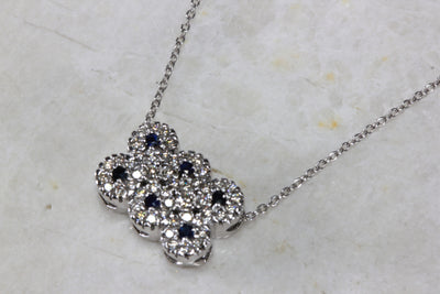 14K WHITE GOLD SAPPHIRE & DIAMOND CLUSTER PENDANT NECKLACE