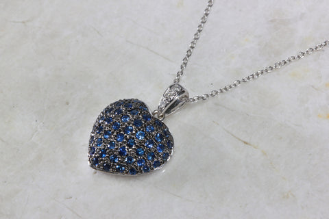 14K WHITE GOLD SAPPHIRE HEART & DIAMOND PENDANT NECKLACE