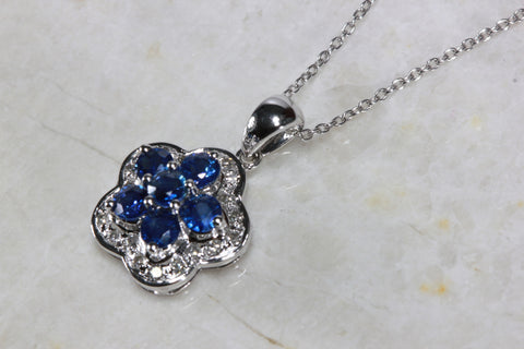 14K WHITE GOLD SAPPHIRE CLUSTER FLOWER SETTING & DIAMOND PENDANT NECKLACE