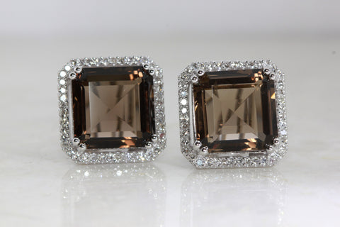 14k WHITE GOLD LADIES DIAMOND EARRINGS & SMOKY TOPAZ SQUARE SHAPE