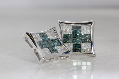 SQUARE SHAPE 14 k WHITE GOLD INVISIBLE SETTING BLUE & WHITE  DIAMONDS EARRINGS