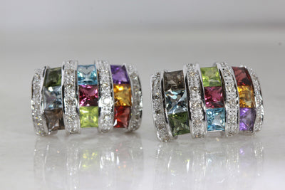 LADIES MULTI COLORED EARRINGS & DIAMONDS 14k WHITE GOLD