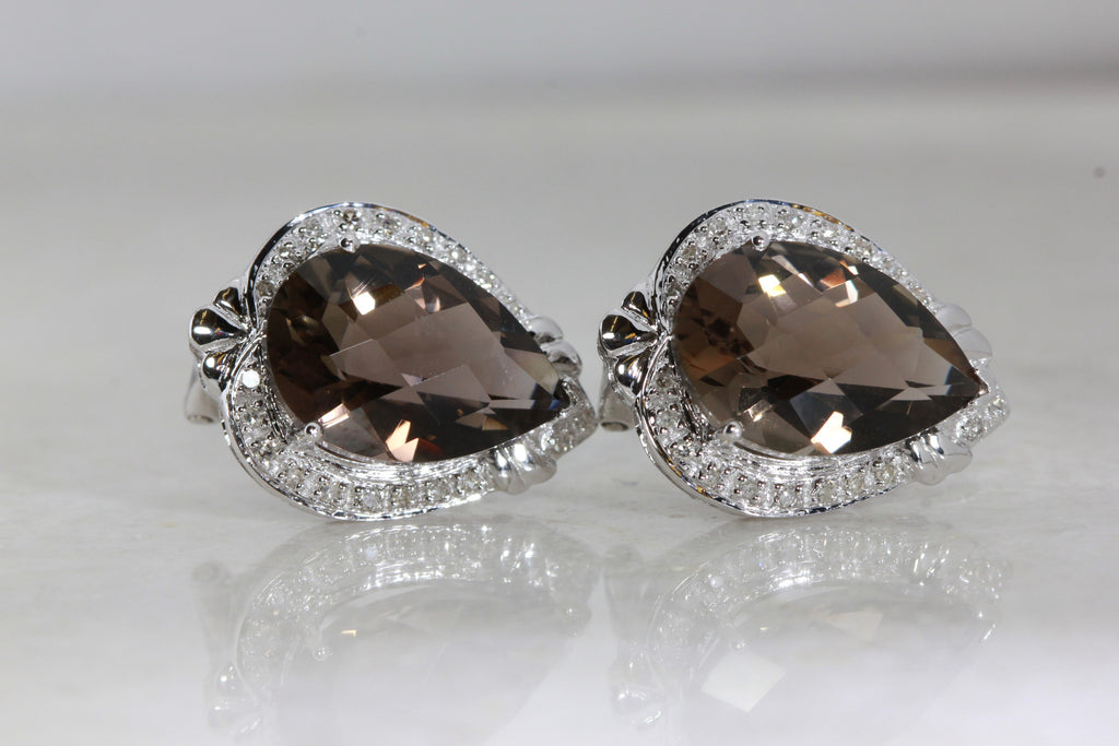 ANTIQUE 14k WHITE GOLD LADIES DIAMOND EARRINGS & SMOKY TOPAZ CHECKERBOARD