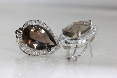 WHITE GOLD LADIES DIAMOND EARRINGS & SMOKY TOPAZ CHECKERBOARD
