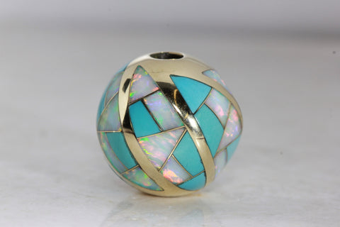 LADIES TURQUOISE & AUSTRALIAN OPAL PENDANT SLIDE 14k YELLOW GOLD