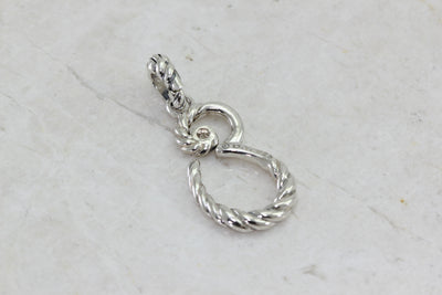 DAVID YURMAN DIAMOND INITIAL CHARM IN STERLING SILVER SCRIPT E