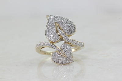 LADIES DOUBLE HEART DIAMOND RING 14k TWO TONE GOLD