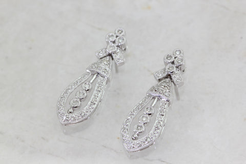 ANTIQUE 14K WHITE GOLD LADIES EARRING DANGLE DIAMOND DOOR KNOCKER .74CT